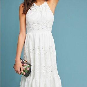NEW Anthropology White Tiered Eyelet Midi Dress